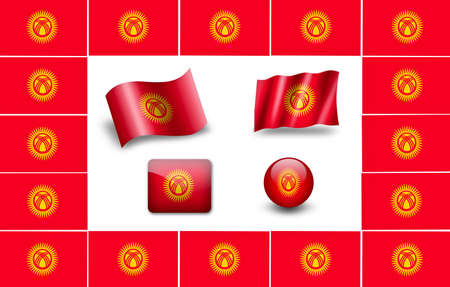 kirgizia: Kirghiz flag. icon set. flags frame Stock Photo