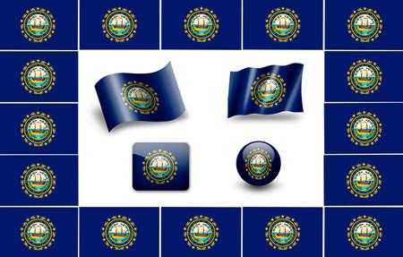 New Hampshire state flag of America. icon set photo