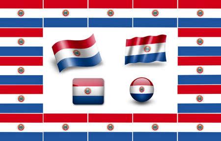 bandera de paraguay: Paraguay bandera conjunto de iconos