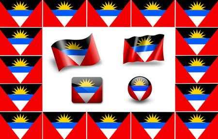 barbuda: flag of Antigua and Barbuda. icon set.