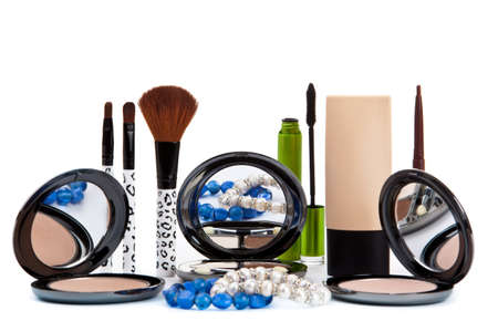Various cosmetics isolated over white. Makeup products Stock Photo - 12030630