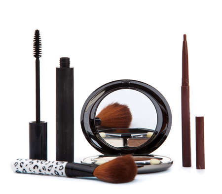 Various cosmetics isolated over white. Makeup products Stock Photo - 12030616