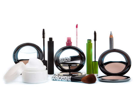 Vaus cosmetics isolated over white. Makeup products Stock Photo - 12030615
