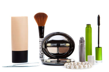 Vaus cosmetics isolated over white. Makeup products Stock Photo - 12030621