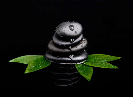 black stone with leaf. massage stones photo