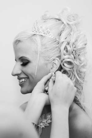 black and white close-up portrait of beautiful blonde bride Stock Photo - 12574912