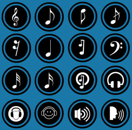 Various musical notes  simple music icons  photo