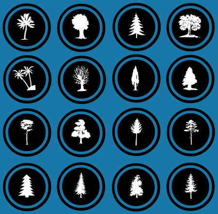 illustration of tree silhouettes  tree icons illustration