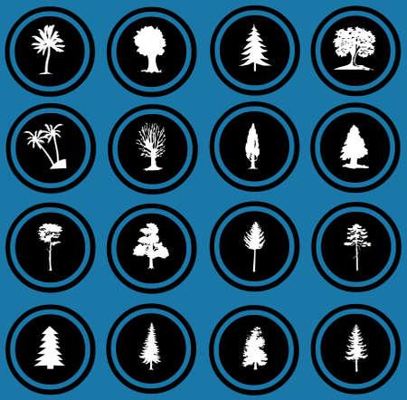 illustration of tree silhouettes  tree icons Stock Illustration - 12836311