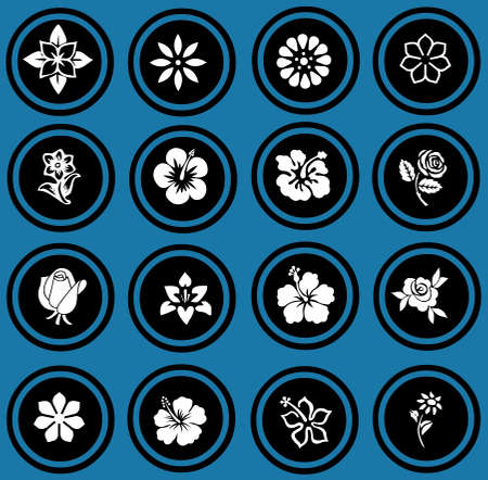 silhouettes of flowers set  flowers icons   photo