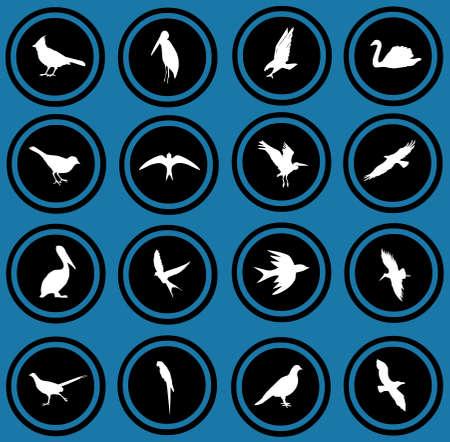 tawny: silhouettes of birds  birrds icons  Stock Photo