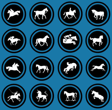 Horse riders silhouettes  Horse icons Stock Photo - 12836346