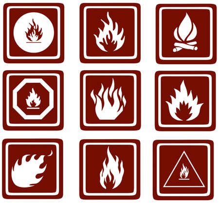 sizzling: fire icons  Web Buttons Stock Photo