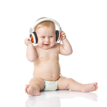 dj: baby with headphone. young DJ Stock Photo