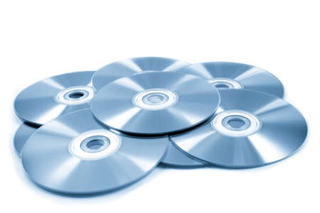 stack of cd roms  CD   DVD disk on white background photo