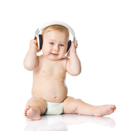 baby with headphone. young DJ photo