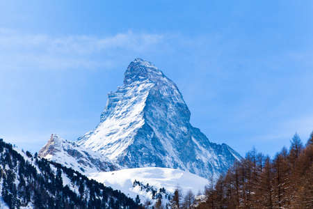 Matterhorn mountain of zermatt switzerland  Winter in swiss alps  Beautiful mountain Matterhorn photo