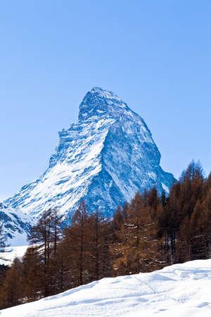 Matterhorn mountain of zermatt switzerland  Winter in swiss alps  Beautiful mountain Matterhorn Stock Photo - 17907079