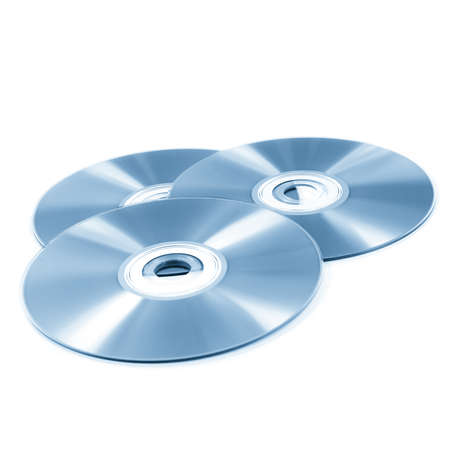 recordable media: stack of cd roms  CD   DVD disk on white background Stock Photo