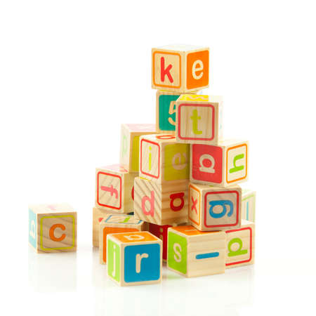 wooden toy cubes with letters  Wooden alphabet blocks  photo