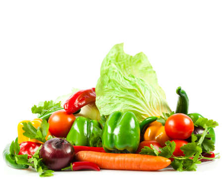 Fresh vegetable isolated on white background   Healthy Eating  Seasonal organic raw vegetables  photo