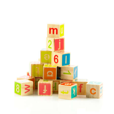 wooden toy cubes with letters  Wooden alphabet blocks  Stock Photo - 18218045