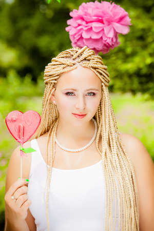 Summer girl portrait. beautiful girl. Sweet candy girl photo