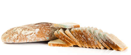 bread mold: Mold on bread. Mouldy bread, isolated on a white background