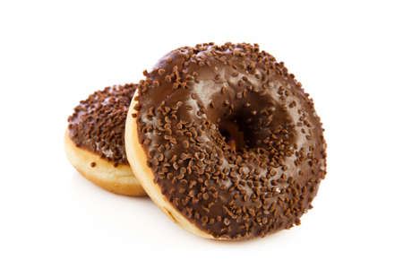 doughnut: Chocolate Donuts . Isolated on a white background. doughnut