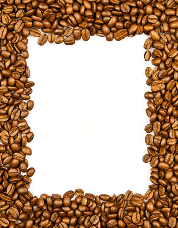 Coffee. brown coffee beans isolated on white background.  Frame of coffee. Coffee Border photo