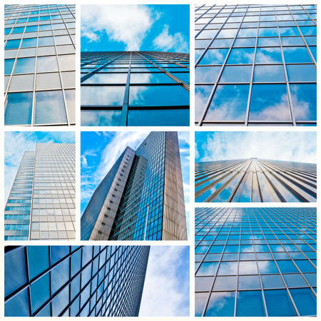 abstract glass skyscraper  Glass wall of office buildings  modern glass silhouettes  Modern office  photo