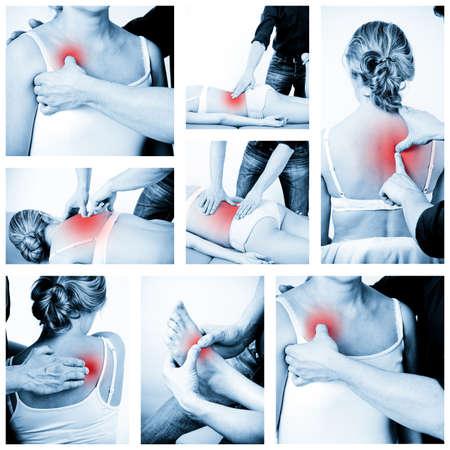 dolor muscular: Terapeuta de masaje que da un masaje mujer receptora de masaje profesional de masajes