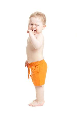 huilende baby jongen geïsoleerd. Stockfoto