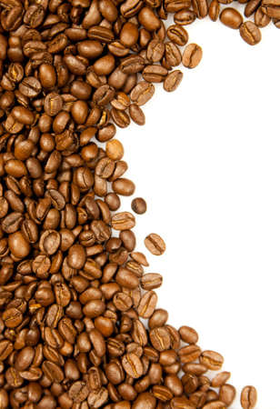 stimulated: Coffee. brown coffee beans isolated on white background.  Frame of coffee. Coffee Border Stock Photo