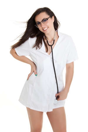 Sexy nurse with stethoscope. female doctor - isolated over a white background photo