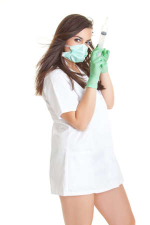 Doctor woman with medical syringe. young female doctor with syringe photo