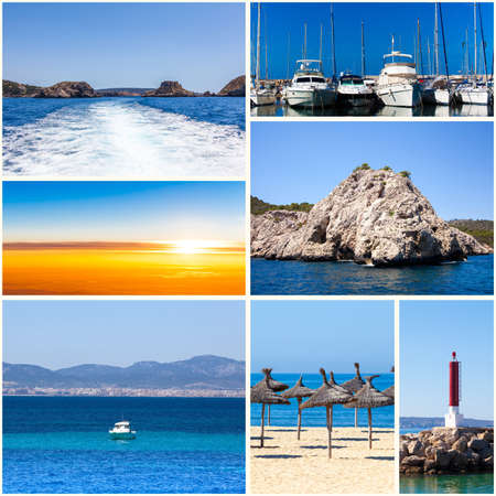 collage travel: summertime theme photo collage. travel collage Stock Photo