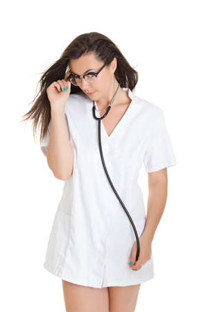 Sexy nurse with stethoscope. female doctor - isolated over a white background Stock Photo - 21165992