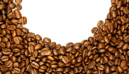 brew house: Coffee. brown coffee beans isolated on white background.  Frame of coffee. Coffee Border Stock Photo