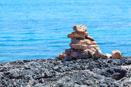 Stack of stones on a seashore. photo