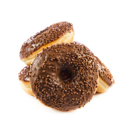 doughnut: Chocolate Donuts   Isolated on a white background  doughnut Stock Photo