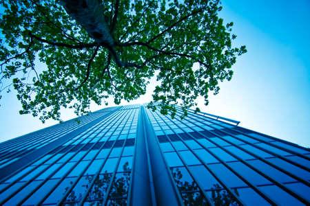 reflexion: El moderno edificio de oficinas.