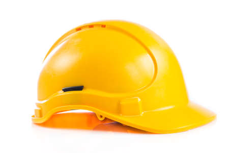 Yellow safety helmet on white background.  hard hat isolated on white Stock Photo