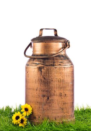 Milk can on green grass. retro milk container photo