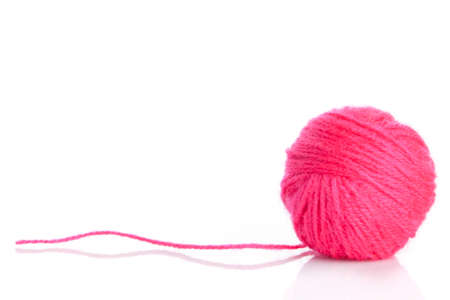 acrylic yarn: Pink Yarn Ball on white background Stock Photo