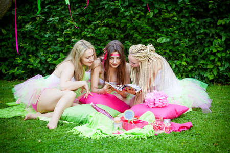 sociable: group of beautiful female friends smiling Stock Photo