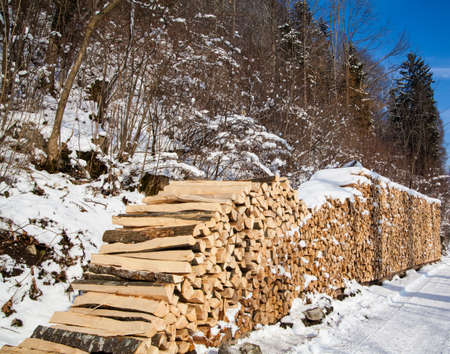 coziness: pile of firewood. snowy firewoods in winter forest Stock Photo