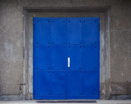 metal blue  door photo