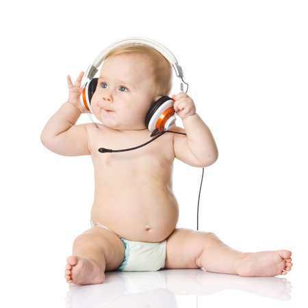 baby with headphone  young DJ photo