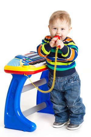 dj boy: little boy and the keyboard  baby  young DJ Stock Photo